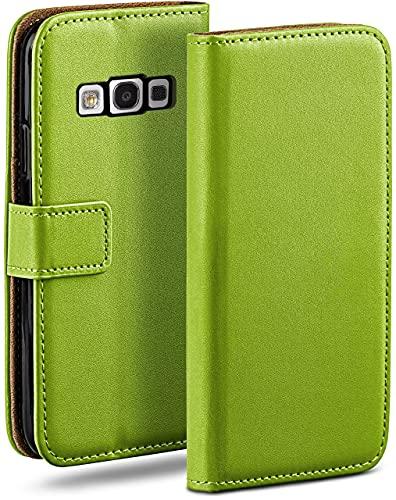 moex Klapphülle kompatibel mit Samsung Galaxy S3 / S3 Neo Hülle klappbar, Handyhülle mit Kartenfach, 360 Grad Flip Hülle, Vegan Leder Handytasche, Grün