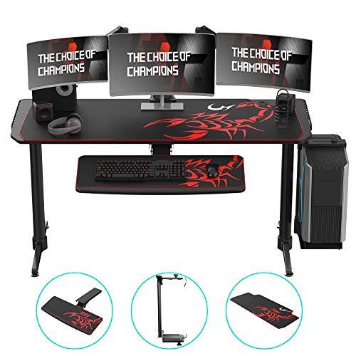 KTDZ Gaming Desk, Mesa De Juegos para El Hogar, Escritorio Simple Textura De Fibra De Carbono Elegante Mesa De Computadora De Juegos De Escritorio con ElevacióN RGB