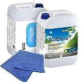 2X 10 L blueSky AdBlue® inkl. Ausgießer + Microfasertuch blau 38 x 38 cm 220 GSM