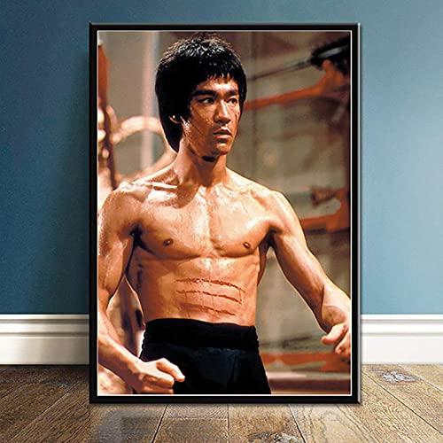 Yiwuyishi Bruce Lee Kung Fu Movie Star Posters con impresión de Alta definición y Pintura en Lienzo Imagen de Arte de Pared Vintage Decoración para el hogar 50x70cm P-1412