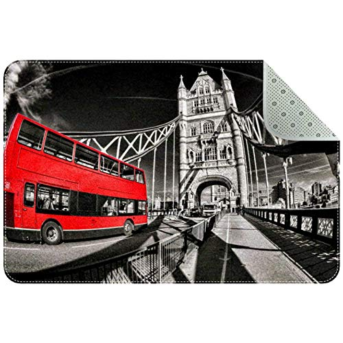 Alfombras de área 31x20 pulgadas Tower bridge red bus londres Alfombra suave divertida antideslizante para sala de estar dormitorio decorativo