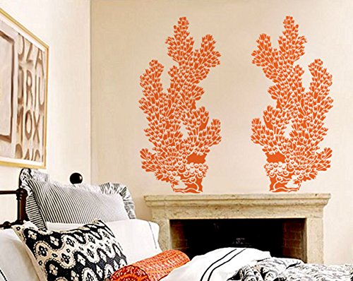 Coral Wall Stencil Reusable wallpaper