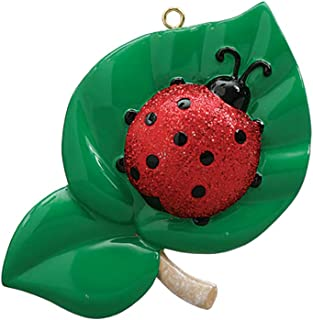Personalized Ladybug Christmas Tree Ornament 2019 - Cute Glitter Lady-Bird Leaf Coccinellidae Beetle Good Luck Year Omen Daisy Child Flower Bishop-Barnaby Gift Lucky Animal Fly - Free Customization