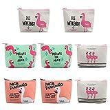 Dadabig 8 Stück Flamingo Geldbörse, Mini Handtaschen Münzen Portemonnaie Geldbeutel mit Reißverschluss Niedliche Leinwand Brieftasche für Karten, Bargeld Männer Frauen Kinder (4 Arten)