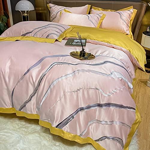 Funda De EdredóN 135,Cubierta de edredón bordada de dos caras de verano, juego de ropa de cama de seda 4 piezas, hipoalergénico 19 Mamá, ropa de cama de mora, ultra suave y suave-C_Cama de 2.0m (4pcs