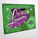 Divertido cartel de pared con moneda verde para lavandería, decoración de pared para baño o lavandería, póster vintage para decoración del hogar
