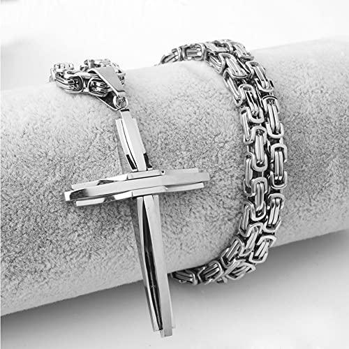 WYPAN Colgante de Cruz Negra Gótica con Collar de Cadena de Rey Grande Vintage de Acero Inoxidable Regalos de Joyería Religiosa Simple para Hombres Y Mujeres,Plata,50cm