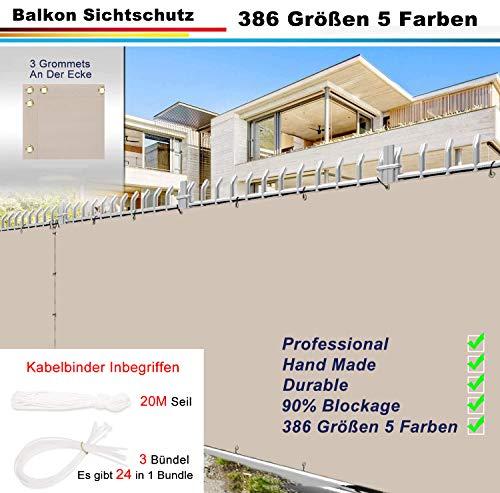 Pantalla para Balcón Jardín Protección de Privacidad (386 tallas y 5 colores) Pantalla privacidad balcón con Cables y Cuerdas, Resistente al Viento y al Agua Transpirable para Jardín Balcón Terraza
