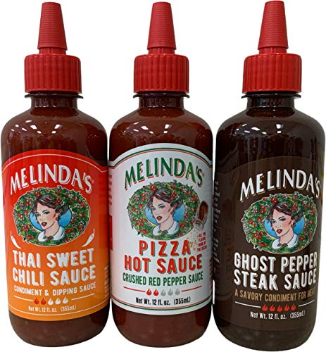 Melinda's Kosher Condiment Hot Sauces In 12 Ounce Bottles Bundle of Three Flavors: Ghost Pepper Steak, Thai Sweet Chili and Pizza Hot Sauces