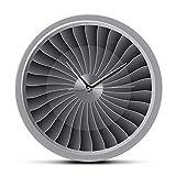 The Geeky Days Jet Engine Turbine Fan Aviator Wall Clock Airplane Modern Silent Wall Art Timepiece Aviation Home Decor Jet Artwork Pilot Wall Watch