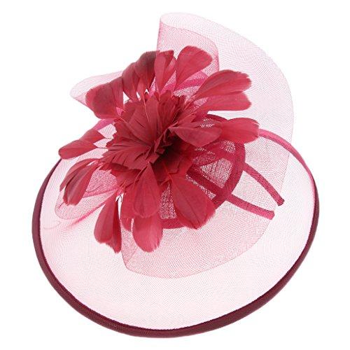 Homyl Petit Chapeau Femmes Elégantes Fascinator Chapeau Nuptiale Plumes Cheveux Clip Rétro Fleurs Années 50 - Bourgogne
