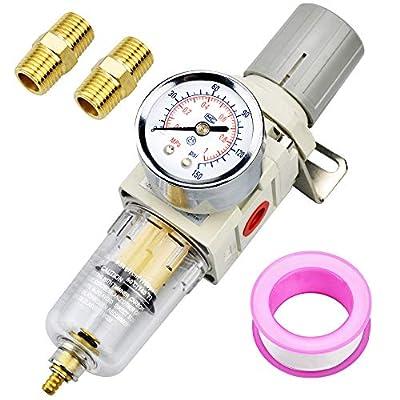 """Tailonz Pneumatic 1/4""""NPT Air Filter Pressure Regulator, Water-Trap Air Tool Compressor Filter with Gauge from Tailonz Pneumaitc"""