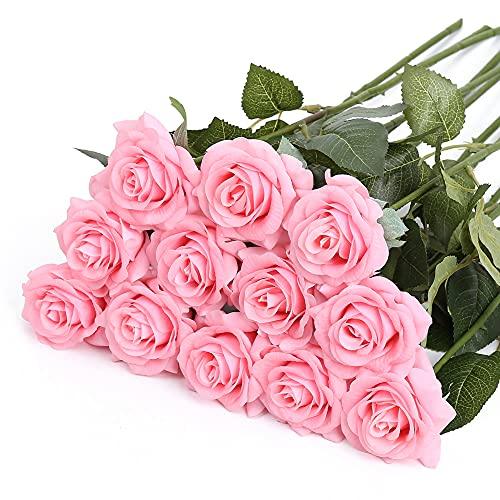 IPOPU Artificial Flowers for Decoration,Single Stem Silk Rose Flowers Artificial Roses for Wedding Party Home Cake Decoration,Artificial Roses with Stem(Light Pink) Silk Flower Arrangements