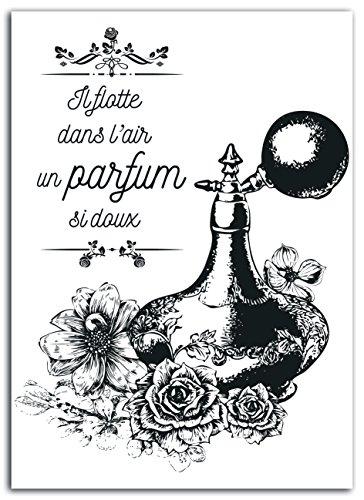 Lady Toga mem301 Vintage Parfum Ontwerp en geplastificeerde stof Opstrijkplaatje Zwart 15 x 21 x 0,1 cm
