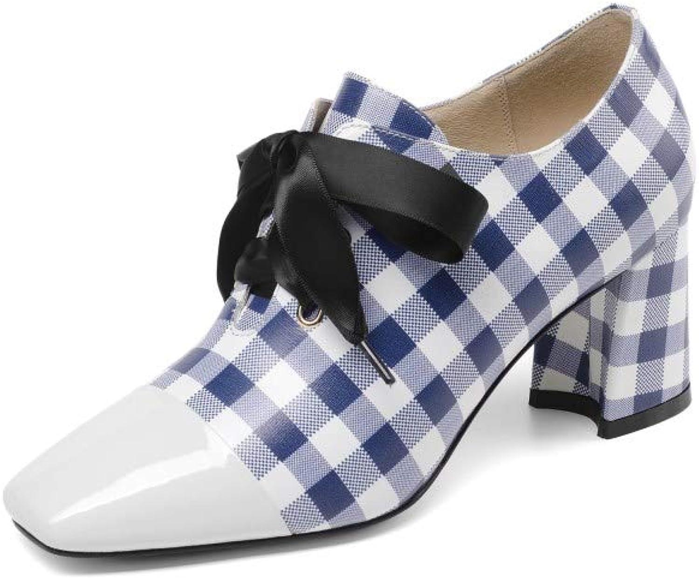 Nine Seven Seven Seven Woherrar Patent läder Square Toe Plaid Mid Heel Handgjord Mode Casual Lace Up Ankle stövlar  Specialerbjudande