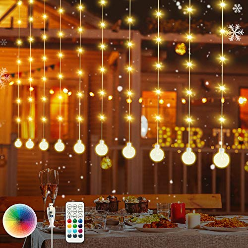 Meidong LED Window Curtain Lights, Christmas Rainbow RGB Color Changing 11 Color 3 Lighting Modes Backdrop, Icicle String Lights with USB Plug and Remote, Bedroom, Wedding, Party, Outdoor Indoor Decor