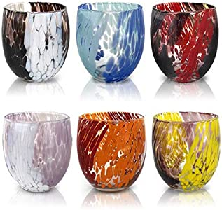 MAZZEGA ART & DESIGN Juego de 6 vasos de agua de cristal de color estilo murano. Modelo Naif.