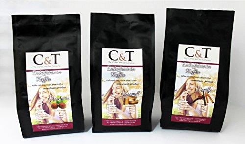 Kaffee mit Geschmack, ohne Koffein! GEMAHLENER Entkoffeinierter Kaffee mit natürlichen Aromen: Haselnuss, Karamell, Vanille (3 Sorten) (500 g)
