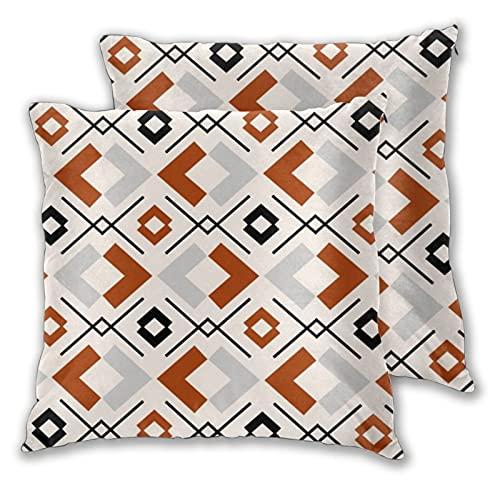Lesif Set mit 2 Kissenbezügen, gebranntes Orange, Grau und Beige, geometrisches Muster, quadratisch, weicher Kissenbezug für Zuhause, für Sofa, Couch, Bett, Büro, 45,7 x 45,7 cm
