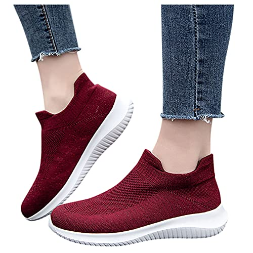 Women'S Walking Shoes Breathable Casual Sneakers Ladies Flying Woven Mesh Breathable Soft Sole Running Sneakers 37-42