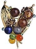 Broche JXtong2 con cuentas coloridas en forma de hoja de frutas, broches para mujer, decoración de abrigos, bufandas, hebilla de color dorado, broche para plantas, para traje de solapa, chinchetas