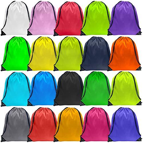 Drawstring Backpacks String Bag 40 Pcs Nylon Gym Cinch Bags 20 Colors