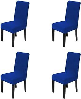 Maikehome, 4-teiliges Set aus unifarbenen Stuhlhussen, mit Stretch, abnehmbar und waschbar, für Hotels, Esszimmer, Feiern, Küche, Bar, Restaurant, Hochzeit oder Party blau