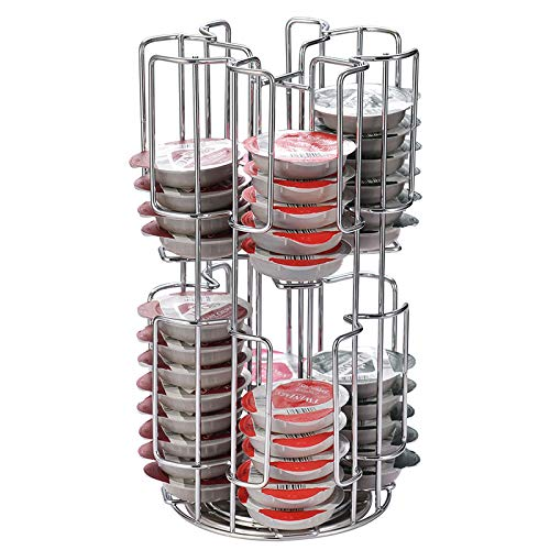 Omera - Porta cialde bartesiana, rotazione a 360°, può contenere fino a 64 capsule Tassimo e 36 capsule bartesiane, per capsule da cocktail bartesiani e capsule per caffè espresso (argento)
