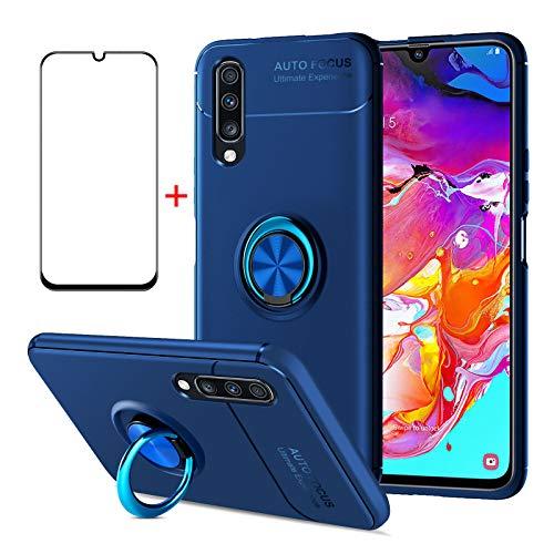 AKABEILA Coque Samsung A70 Verres Trempés, Etui Samsung A70 étui Protection d'écran, Compatible avec Samsung Galaxy A70 Housses Silicone Antichoc Protection de Coques, Bleu