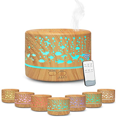 Hianjoo Aroma Diffuser 700ml Luftbefeuchter mit Timer, Ultraschall Aromatherapie Diffusor LED mit 7 Farben für Büro,Yoga,Spa,Schlafzimmer - Helles Holz