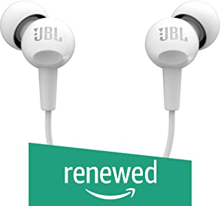 (Renewed) JBL C100SI in-Ear Headphones with Mic (White)