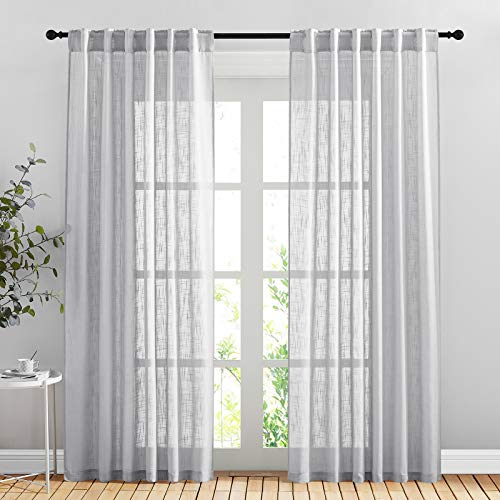 """NICETOWN Cortinas para Sala 84"""" L, Rod Pocket & Back Tab Elegant Semi Sheer Bedroom Window Curtains and Drapes Privacy with Light Filter for Living Room/Villa, 104"""" W Total 2 Pieces, Light Grey"""