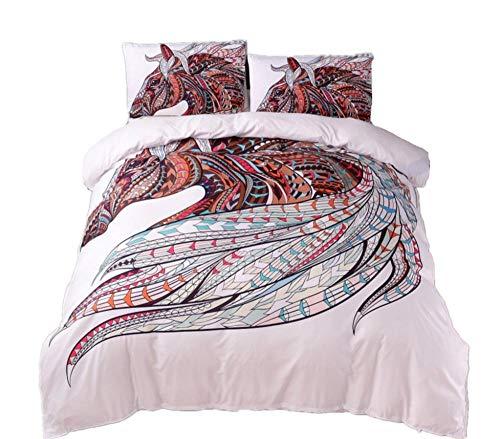 Juego de ropa de cama 3D,funda de edredón con elefante + funda de almohada (sin sábana), juego de cama de estilo étnico para,Textiles para el hogar, juego de edredón de 2/3 Uds,260x230cm(3piezas)