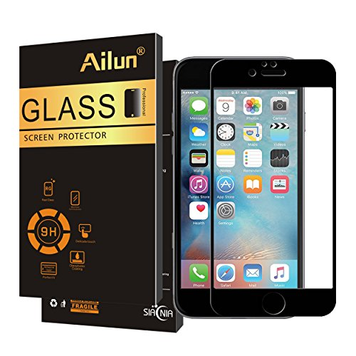 Ailun Screen Protector Compatible iPhone 7 iPhone 8 1Pack 2.5D Edge Tempered Glass Full Coverage for iPhone 7 iPhone 8 Anti Scratch Case Friendly Black