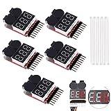 DAOKI 5PCS 1-8S Low Voltage Battery Tester Buzzer Alarm Lipo Voltage Indicator Checker with Lipo Battery + Nylon Zip Ties