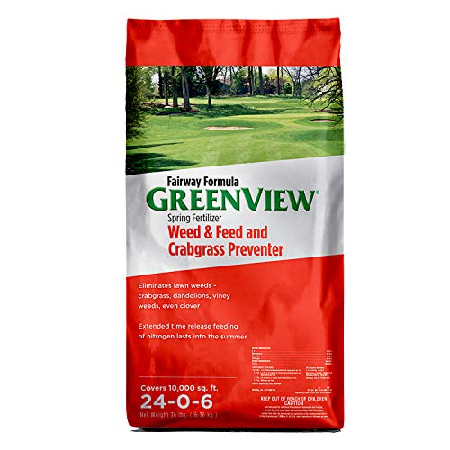 GreenView 2129268 Fairway Formula Spring Fertilizer Weed & Feed + Crabgrass Preventer, 36 lb....