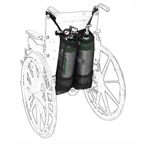 """Bolsa de cilindro de oxígeno para silla de ruedas – O2 Tank Carrier Mochila soporte para botellas de cilindros """"D"""" y """"E"""", doble y portátil ⭐"""