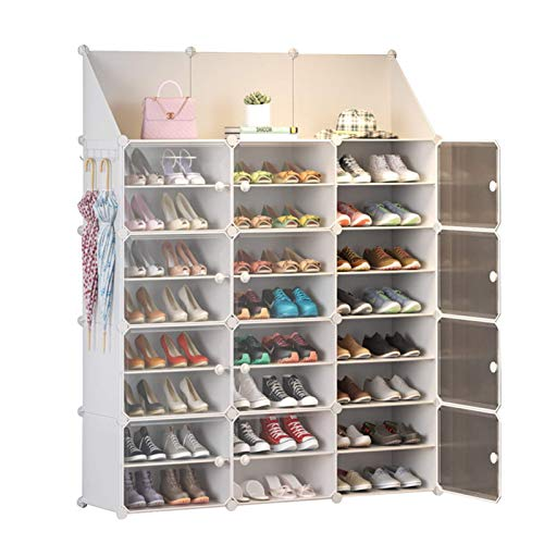 N/Z Home Equipment Portable Shoe Rack Organizer 48 Pair Tower Shelf Storage Cabinet Stand Expandable for Heels Boots Slippers 8 Tier Multi-Functional (Color : White Size : 126x31x158cm)