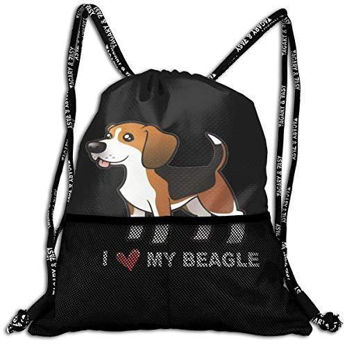 Lmtt Sac à Cordon pour Homme/Femme - J'aime Mon Beagle Fashion Lightweight Sackpack Casual Bundle Backpack for Sports, Travel, Gym, Training, Yoga