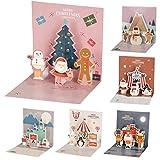 Tarjeta de Navidad 3D de SUMAIRS, paquete de 6 tarjetas de felicitación de Navidad 3D con sobre, papel de primera calidad, diseño de Papá Noel de jengibre
