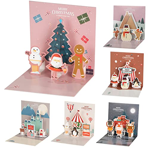 Natale 3D Pop Up Biglietti di Auguri con Busta, Kit 6 Biglietti di Auguri 3D Creativi per Natalizio Regali Decorazioni, SUMAIRS Pop-Up Decoupage Natale Cartoline per Famiglia Amici