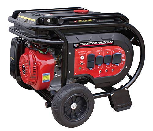 All Power America G12000EGL 12000 Watt Heavy Duty Dual Fuel Portable Generator with Electric Start 12000W Gas Propane(LPG) with 50A 120 240V AC Outlet, Black Red