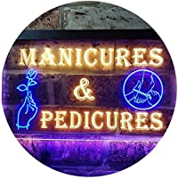 Manicures and Pedicures Illuminated Dual Color LED看板 ネオンプレート サイン 標識 青色 + 黄色 300 x 210mm st6s32-i0592-by