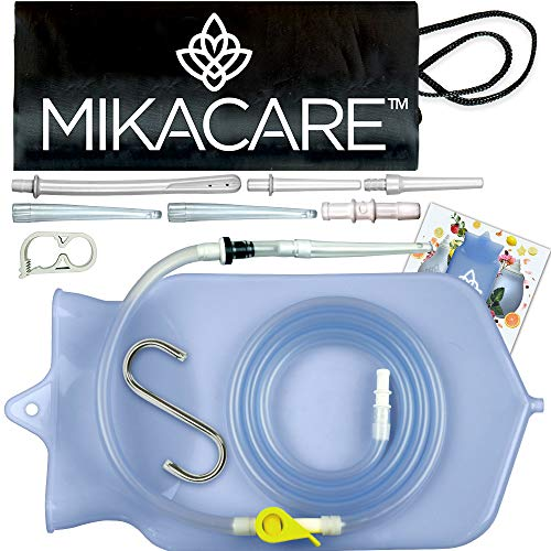 Mikacare Enema Bag Kit Clear Non-Toxic Silicone. for Coffee and Water Colon Cleanse. 6 Foot Long Hose, BPA and Phthalates Free 2 Quart
