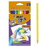 BIC Kids Aquacouleur Lápices Acuarelables Efecto Pintura - colores Surtidos, Blíster de 12 unidades