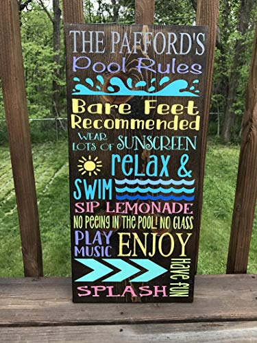 """CELYCASY Pool Rules Holzschild """"Family Pool Rules"""" Schild """"Family Pool Rules"""" für Zuhause, Terrasse, Poolschild, Sommerschild, bemaltes Poolschild"""