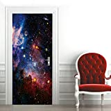 Etiqueta de Puerta Cielo Estrellado Del Planeta Colorido Pegatinas de Pared Decoración de Hogar 95 x 215 cm
