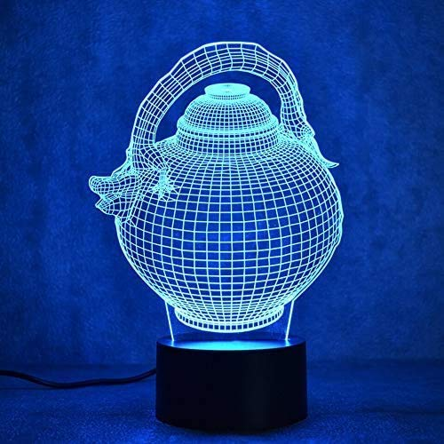 Pequeña luz nocturna creativa 3D LED visual luz nocturna colorida gradiente variable escultura de moda dispositivo de lámpara USB frasco de cadera tetera lámpara de mesa regalo lámpara tridimensional