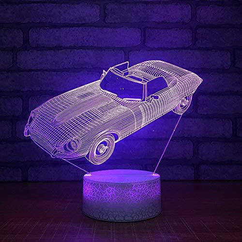7 gradientes coloridos, accesorios de iluminación creativos para coches deportivos, lámpara de escritorio LED 3D, luz nocturna para vehículos, decoración de cabecera, regalos