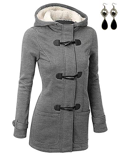 BUOYDM Cappotto Donna Felpa con Cappuccio Giacca Invernale Giacche e Cappotti Outwear Hoodies, Grigio L